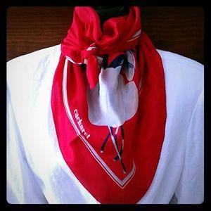Vintage Silk Scarf Cacharel red blue VTG Japan